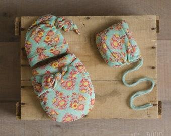 Wonder Wrap • 3 Pieces Set • Aqua Floral