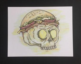 Framed Cheeseburger Skull