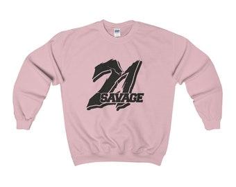 21 Savage Black Logo Sweatshirt Hip Hop Rap Classic Sweatshirt Slaughter Gang Merch Savage Mode Rap Bank Account Issa Knife