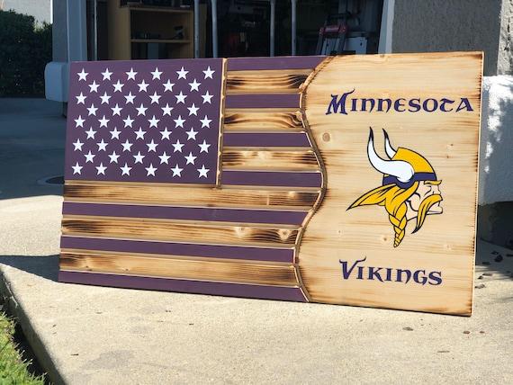 Minnesota Vikings Custom Wood Flag