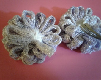 2 Hair Clips with Yarn Flowers