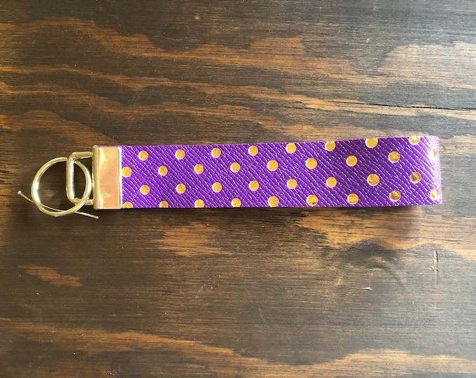 Keychain Purple and Gold Polka-Dot Wristlet Ready To Ship