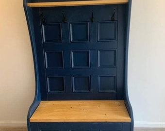 12 panel monks bench which seat storage and coat hooks