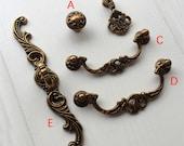 3.58 quot 4.17 Drop Bail Drawer Knobs Dresser Ring Pull Handles BackPlate Cabinet Handles Knobs Door Handle Vintage Look Antique Yellow 91 106mm