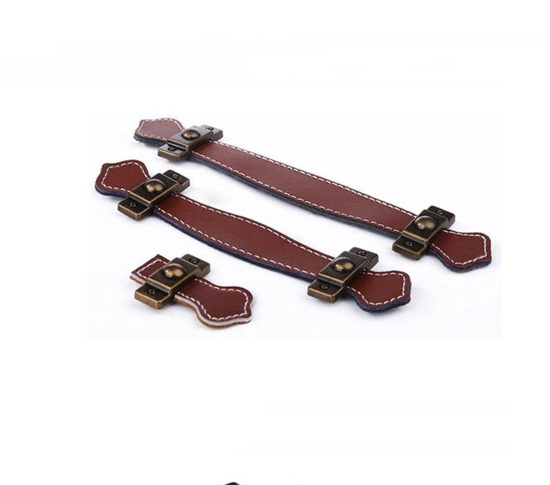 3.78 5.04 Brown Black White Leather Door Handles For Cabinet Wardrobe Cupboard Drawer Pull Knobs Furniture Hardware Kitchen Accessories