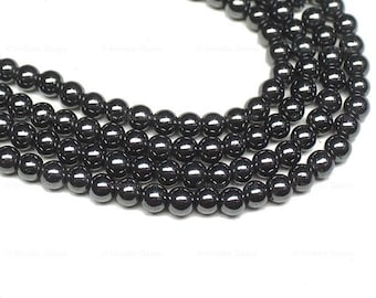 5 Strand Natural Black Hematite Smooth Round Ball Loose Beads 15 Inches 6mm - Jewelry Supplies