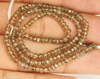 Smoky Mystic Quartz Faceted Loose Gemstone Rondelle Beads Strand 13 inch 3mm - Jewelry Supplies