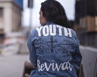 Handpainted Distressed Hillsong Youth Revival Denim Jacket