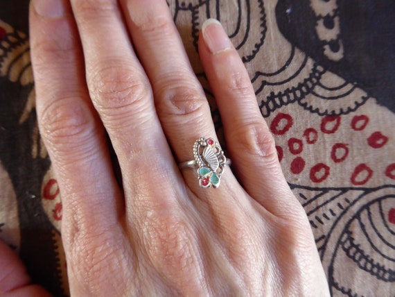 Indian silver toe  finger ring india vintage adjustable free size mango paisley ethnic tribal Rajasthan belly dance bollywood hippie