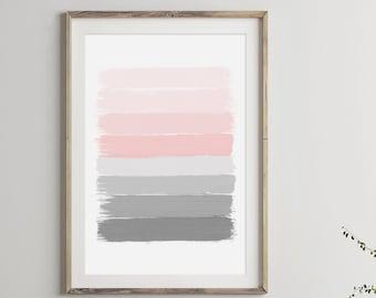 Pink Gray Abstract Painting Print, Pink Gray Painting,Printable Wall Art, Modern Wall Art, Brush Stroke Art Print, Wall Decor