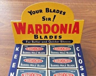 Stunning Vintage 1930s Wardonia Razor Blade Shop Display (NOS) 120 Blades Barbershop