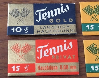 11x Vintage Razor Blade & Wrappers 'TENNIS' Made in Germany Including Different Variations