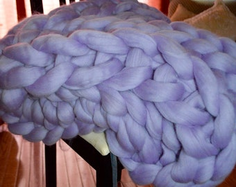 Super Chunky Merino Wool Knit Throw- Lavender