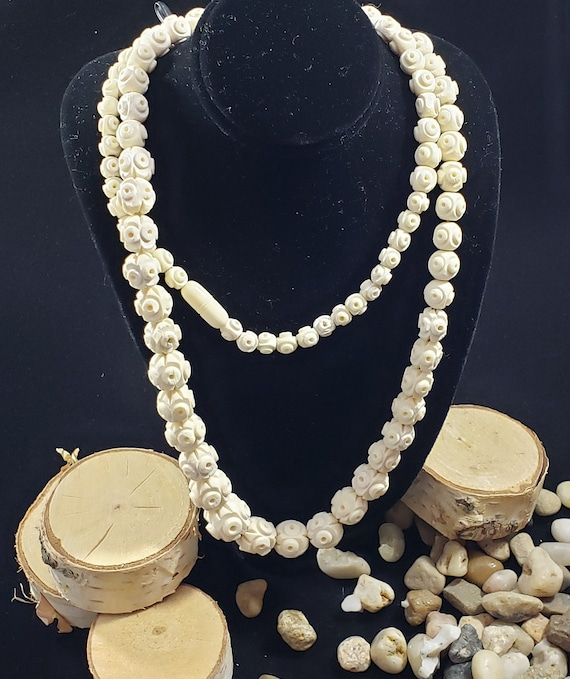 Antique African Hand Carved Bone Bead Necklace Etsy