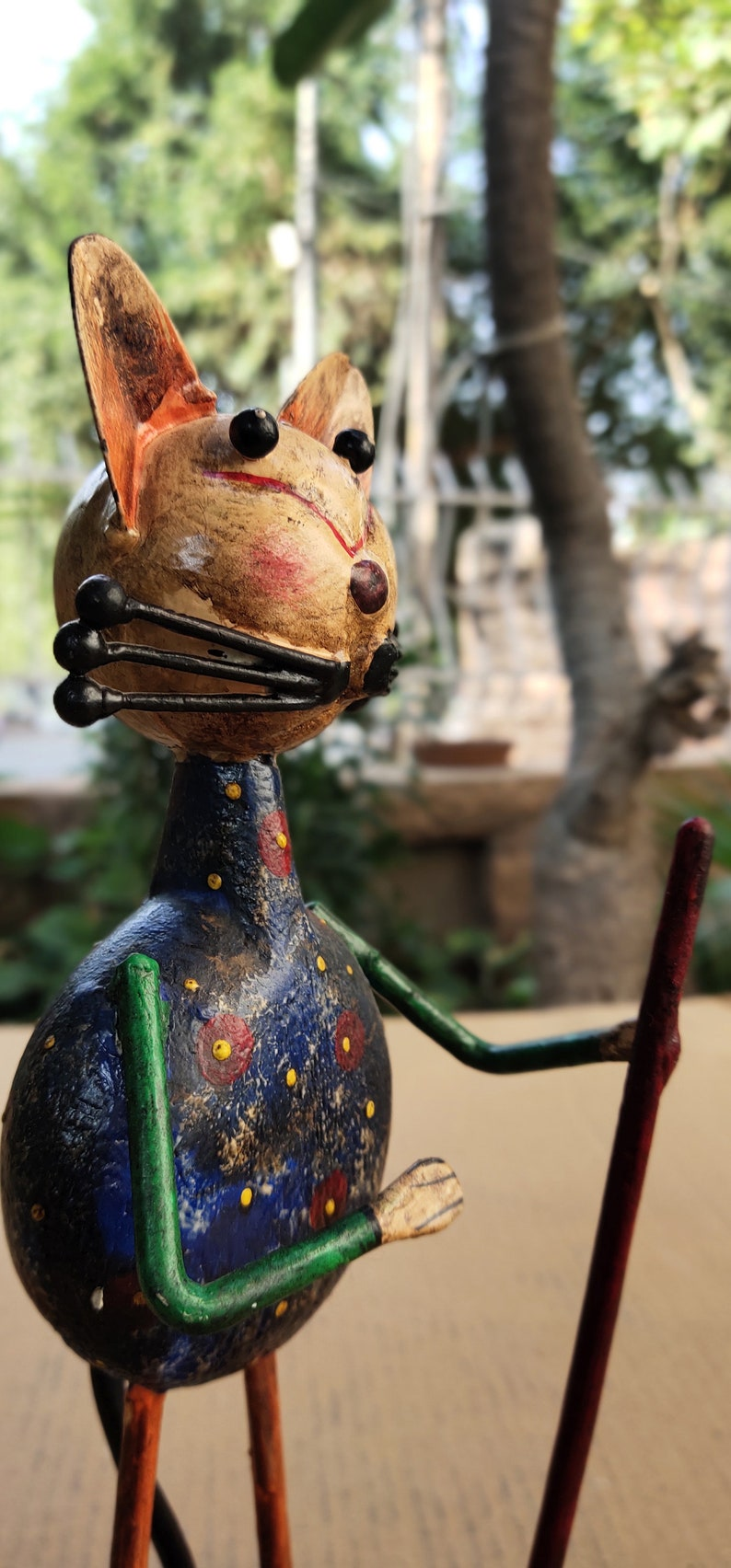 Handmade Hand Painted Traditional Indian Style Home Decor Free Shipping Showpiece Old Metal Cat Figure Home Decor
