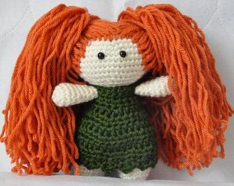 Handmade crochet doll, doll, Red Hair Doll