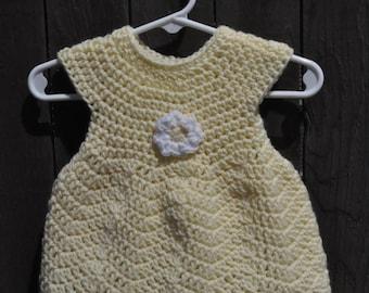 Handmade crochet yellow dress, handmade crochet yellow sundress, handmade crochet yellow tunic, yellow baby dress