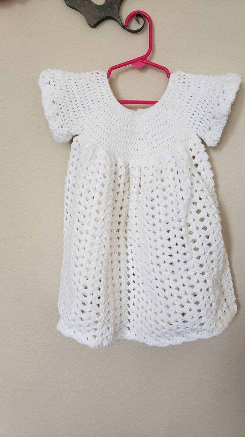 baby dress 2T crochet tunic 18 Month Handmade crochet white short sleeve dress handmade crochet sundress