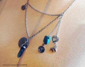 Crystal Fluorite necklace, crystal necklace, green fluorite, green fluorite crystal, healing necklace, crystal pendant, elephant charm