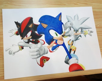Original handmade drawing Sonic, Shadow and Silver