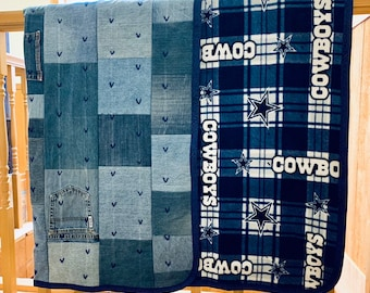 a85678392 Handmade denim quilt NFL Dallas Cowboys fleece lined denim blanket  Repurposed denim quilt Levis quilt Camp quilt Hand tied denim blanket