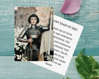 St. Joan of Arc Printable Prayer Card w/ Catholic Intercession to St. Joan Prayer - Double Sided Digital Catholic Prayer Card
