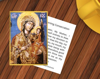 Madonna With Child Printable Prayer Card  - Icon + Morning Consecration to Mary - Double Sided  Digital Catholic Prayer Card - Orthodox Icon