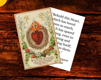 Sacred Heart of Jesus Printable Prayer Card  w/ Words of Jesus - Large Double & Single Sided Digital Catholic Prayer Card