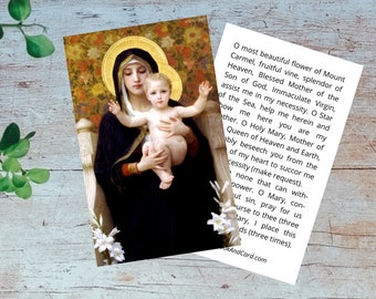 Our Lady of Mt. Carmel Printable Prayer Card - Madonna & Child Image + Mt. Carmel Prayer - Double Sided Digital Catholic Prayer Card