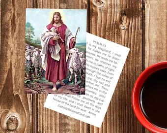 Jesus, the Good Shepherd, Printable Prayer Card with 23rd Psalm - Double Sided Catholic Prayer Card / Christian Prayer Card