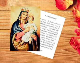 Madonna and Child Printable Prayer Card with the Memorare Prayer - Double Sided Digital / Printable Catholic Prayer Card