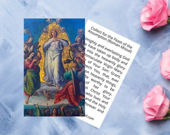 Assumption of Mary Prayer Card - Collect for the Feast of the Assumption - Printable Catholic Prayer Card - 2 Sided