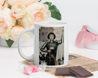 """Saint Joan of Arc Coffee Mug, Beautiful 1903 Image Plus Famous Quote: """"All Battles are won or lost..."""" Catholic Gift"""