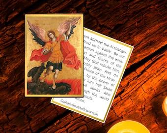 St. Michael the Archangel Printable Prayer Card w/ St. Michael Prayer - Double Sided Digital Catholic Prayer Card