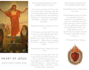 Sacred Heart of Jesus Novena Trifold Printable Prayer Pamphlet - Double Sided Catholic Trifold - Catholic Prayer Pamphlet - White Background