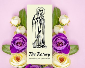 Rosary of the Blessed Virgin Mary Trifold Pamphlet w/ All Rosary Prayers & List of Mysteries by Day - Black and White - Catholic Printable