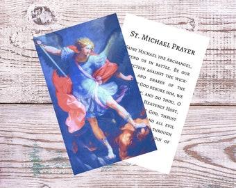 St. Michael the Archangel Printable Prayer Card w/ Catholic Prayer to Saint Michael - Double Sided Digital Catholic Prayer Card
