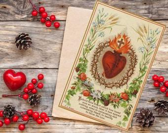 Sacred Heart of Jesus Printable Prayer Card w/ Words of Jesus - Single Sided Digital Catholic Prayer Card - Medium Size