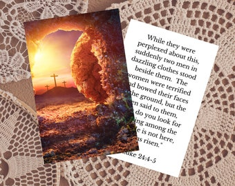 Empty Tomb at Sunrise Printable Prayer Card  - Resurrection Image + Bible Verse - Digital Catholic / Christian Prayer Card w/ Scripture