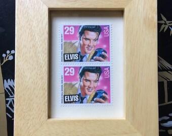 Vintage Elvis Presley 29 Cent Postage Stamps In Wooden Picture Frame