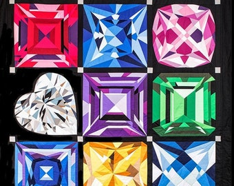 Birthstones Block Of the Month Pattern -by MJ Kinman - Pick just 1 or all 12!