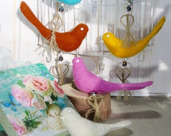 Felted dangling birds Boho decor bird Handmade Needle felted birds Felt ornaments Birds of happiness Keychains birds fo decorations Felt