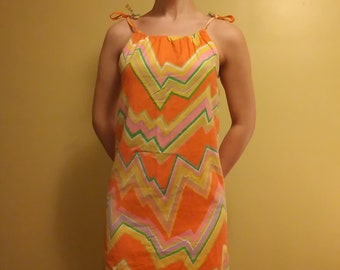 f9e220b2eb321 Vintage 60s Psychedelic Zig Zag Mini Shift Dress