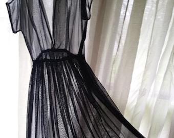 Vintage 40's Navy Chiffon Evening Dress Sheer