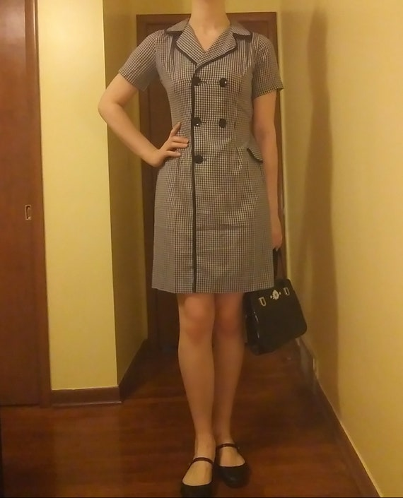 Vintage 60s Gingham Black and White Sheath Dress