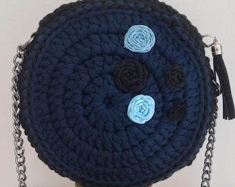 Blue - Black Crochet Handbag