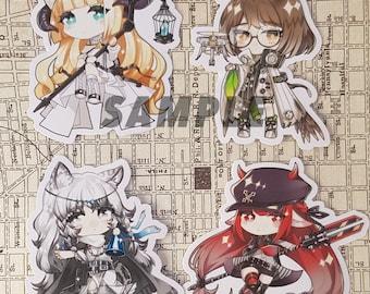Arknights Chibi Sticker set of 4 (pramanix, silence, Nightingale, vigna)