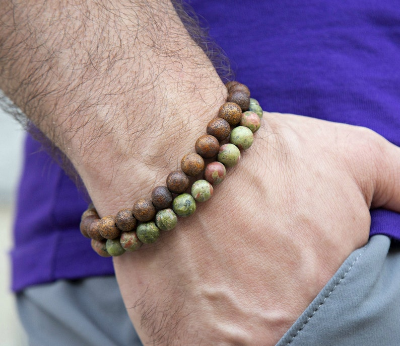 Jewelry Set for Men Green Brown Bead Bracelet Men Mens Beaded Bracelet Stretch Bracelet Men Bracelet Set Men Unakite Bracelet Men