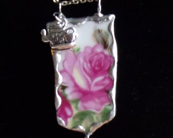 Pink Roses Broken China Pendant