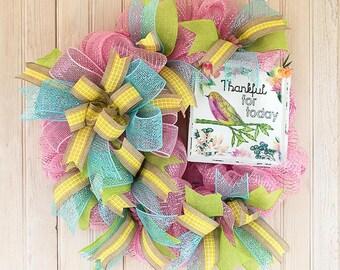 thankful wreath, bird wreath, deco mesh, front door wreath, home decor, bow, ribbons, summer